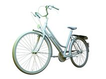 Citybike 3D Model. Simple city bike. Greyscale 3D model and rendering royalty free illustration