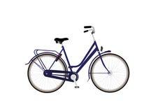 Citybike med blåttramen och denpedal bromsen vektor illustrationer