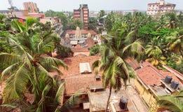 Citycape z palmami, domami i taflującymi dachami tropikalny miasteczko, Fotografia Royalty Free