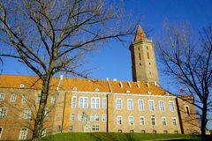 Citycastle in the spring morning. Legnica, Poland in the march morning stock photography