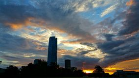 Cityconcept de la salida del sol Imagenes de archivo