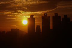 Cityconcept de la salida del sol Imagen de archivo