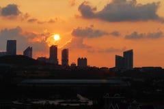 Cityconcept du lever de soleil Photos libres de droits