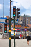 Citycsape with traffic lights Stock Images