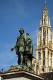 The Cityhall of Antwerpen. With the statue of Rubbens, Belgium Royalty Free Stock Image