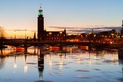 Cityhall av Stockholm, Sverige Arkivbilder