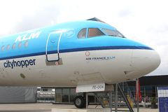 Cityhopper of Royal Dutch Airlines KLM, Schiphol Airport,Amsterdam, Netherlands Royalty Free Stock Image