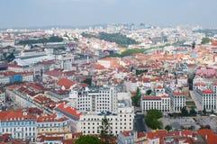 Cityl van Lissabon Aerealmening op zonnige dag van San Jorge Castle Stock Foto's