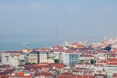 Cityl van Lissabon Aerealmening op zonnige dag van San Jorge Castle Royalty-vrije Stock Afbeelding