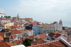 Cityl van Lissabon Aerealmening op zonnige dag van San Jorge Castle Stock Fotografie