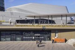 CityLife购物区,打开在2017年10月是与100家商店的一个购物中心在Tre Torri区 图库摄影
