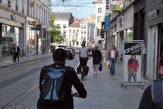 Citylife in Gent, Belgien Stockfotografie