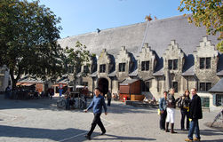 Citylife in Ghent,Belgium. City life in Ghent(Gand),with reconstruction and people daily activities ,along side with the beautiful attractions in the town and Stock Photo