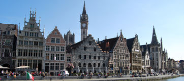 Citylife in Ghent,Belgium. City life in Ghent(Gand),with reconstruction and people daily activities ,along side with the beautiful attractions in the town and Stock Photos