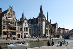 Citylife in Ghent,Belgium. City life in Ghent(Gand),with reconstruction and people daily activities ,along side with the beautiful attractions in the town and Royalty Free Stock Photography