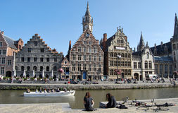 Citylife in Ghent,Belgium. City life in Ghent(Gand),with reconstruction and people daily activities ,along side with the beautiful attractions in the town and Royalty Free Stock Photo