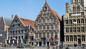 Citylife in Ghent,Belgium. City life in Ghent(Gand),with reconstruction and people daily activities ,along side with the beautiful attractions in the town and Stock Image