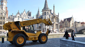 Citylife in Ghent,Belgium. City life in Ghent(Gand),with reconstruction and people daily activities ,along side with the beautiful attractions in the town and Stock Images