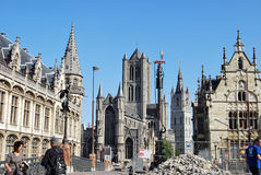 Citylife in Ghent,Belgium. City life in Ghent(Gand),with reconstruction and people daily activities ,along side with the beautiful attractions in the town and Royalty Free Stock Photos