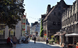 Citylife in Ghent,Belgium. City life in Ghent(Gand),with reconstruction and people daily activities ,along side with the beautiful attractions in the town and Royalty Free Stock Image