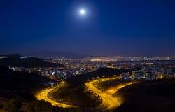 Citylights - en sikt från Izmir Royaltyfri Fotografi