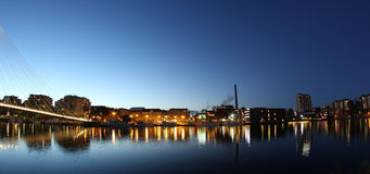 Citylights reflecting from water Royalty Free Stock Photography