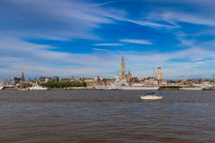 Cityline of Antwerp riverside Schelde seen during The Tall Ships Race 2016 event Royalty Free Stock Images