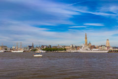 Cityline of Antwerp riverside Schelde seen during The Tall Ships Race 2016 event Royalty Free Stock Image