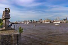 Cityline of Antwerp riverside Schelde seen during The Tall Ships Race 2016 event.  Stock Photos