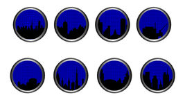 Cityline Buttons. Set of buttons placed in metallic silver. Subject is city skylines with grid overlay Stock Images