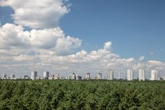 Cityline Kyiv from rooftop Royalty Free Stock Images