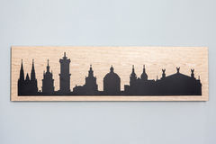 Cityline of Lviv old city carved in wood Royalty Free Stock Photography
