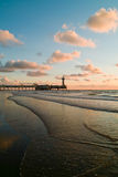 Cityline at the seaside. Cityscape on dutch seaside in scheveningen stock images