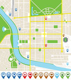 Citymap mit Markierungsikonen Stockbild
