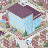 City district in isometric 3d style. Vector town. Set of buildings, houses, townhouses, multi-family homes, shop, bar, school, hos. Pital, car parking.Colorful