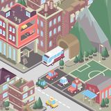 City district in isometric 3d style. Modern town. Set of buildings, houses, townhouses, multi-family homes, shop, bar, school, hos. City district in isometric 3d
