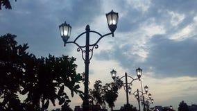Citypark bij de avond Stock Foto's
