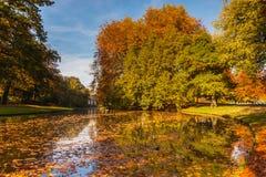 Citypark med höstfärger Royaltyfri Bild