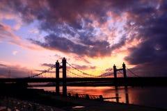 Cityscape— Kabel-bliven bro III Arkivfoto
