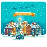 cityscape Η πόλη στα Χριστούγεννα landscape urban Διανυσματική επίπεδη απεικόνιση Στοκ φωτογραφίες με δικαίωμα ελεύθερης χρήσης