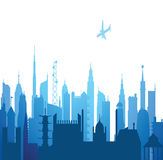 Cityscape. View of cityscape with buildings and airplane Stock Photo
