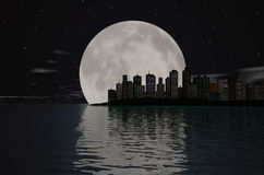 Cityscape. At night with full moon- abstract 3d render city skyline Stock Photos