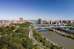 Cityscape. Aerial look at the New York and East River from High Bridge Water Tower royalty free stock image