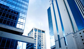 Cityscape. Blue Buildings and clear skies Royalty Free Stock Photo
