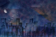 Cityscape. Abstracted city with moon and birds in flight Stock Illustration