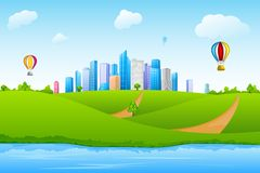 Cityscape. Easy to edit vector illustration of skyscraper with hot air balloon stock illustration
