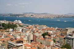 Cityscape. The top view on the city of Istanbul and a sea gulf Royalty Free Stock Photo