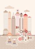 Cityscape. Vector illustration. Fantastic skyline city Stock Photos