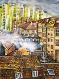 Cityscape. Abstract painting of city buildings Stock Photography