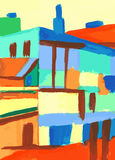 Cityscape. Abstract modern urban scene painting Royalty Free Stock Photos
